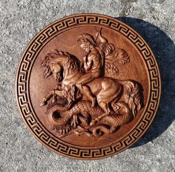 Saint George dragon wood carving