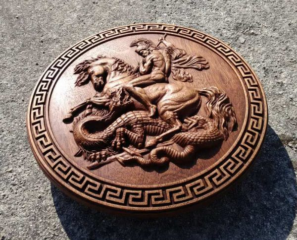 WOOD CARVED PICTURE The Battle with the Dragon