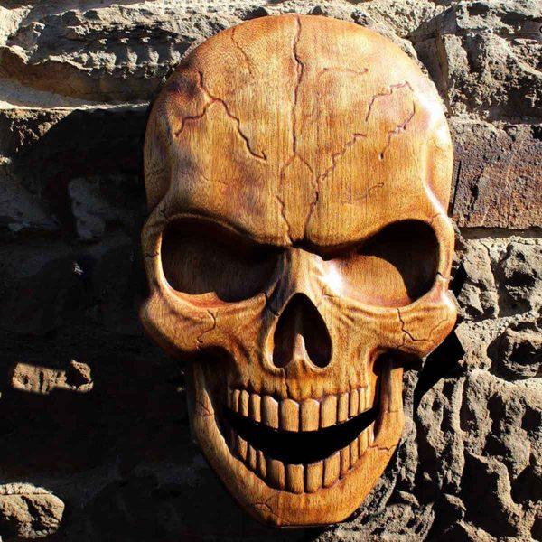 Skull viking wood carving wall art