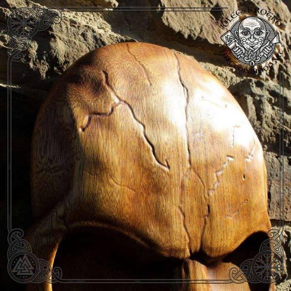 carved wooden skull