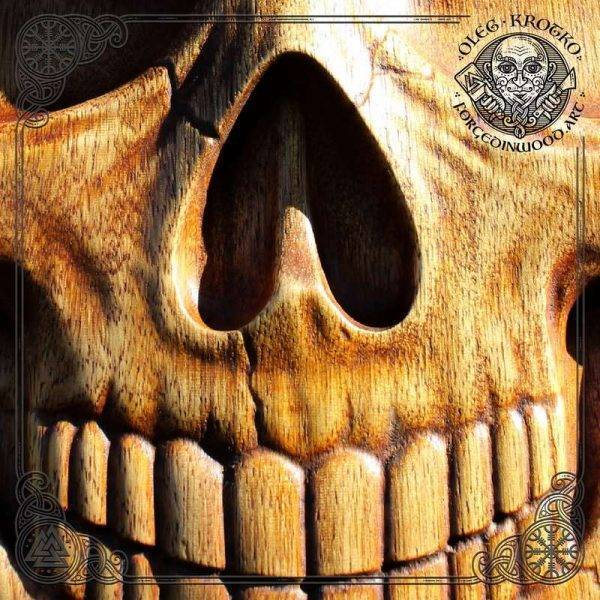 wooden SKULL WOOD CARVING