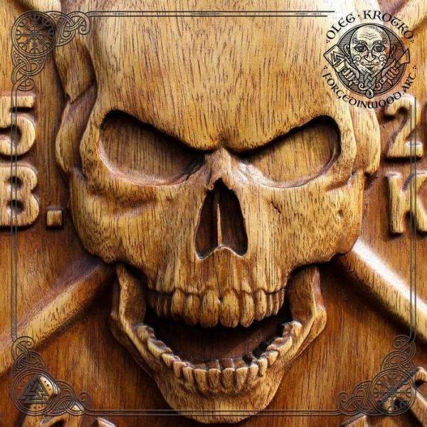 Skull Wood Carving Wall decor