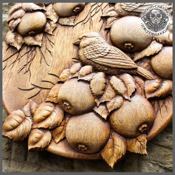 Hand Carved Bird Sparrow Ornament
