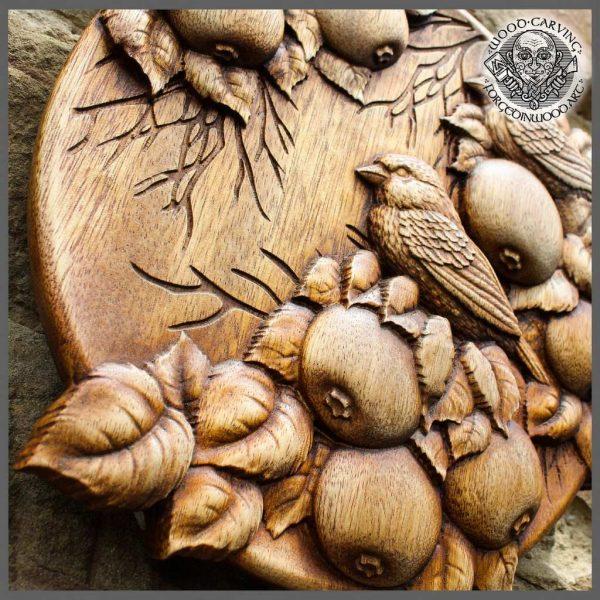 Wooden Sparrow Bird Small Wood Sculpture