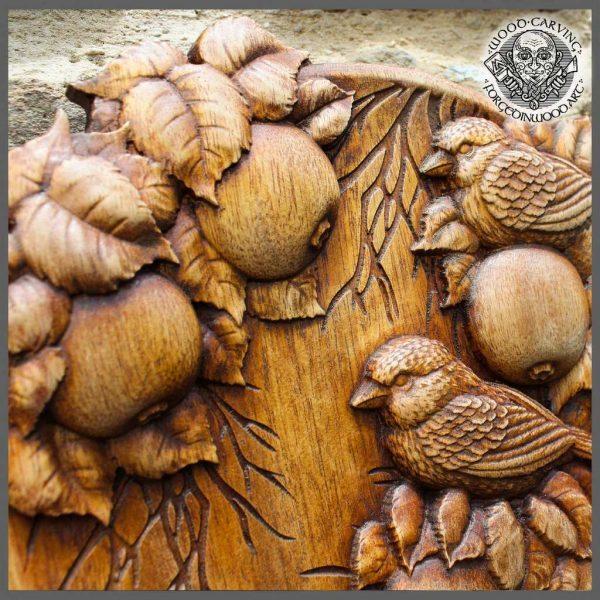 Birds wood carvings wall art