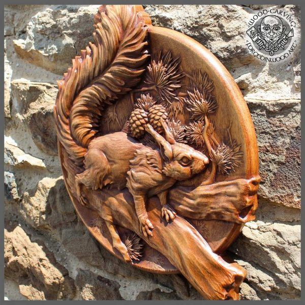 Squirrel wood carving art wall