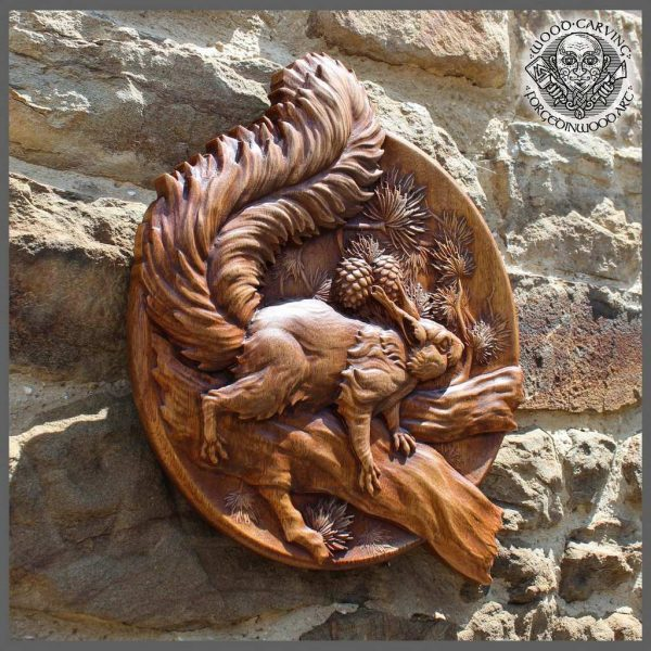 Squirrel wood wall Art