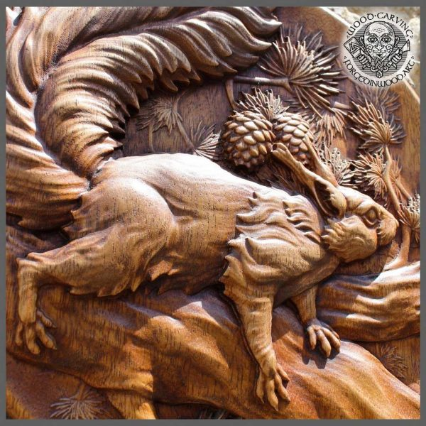 squirrel hand carved art