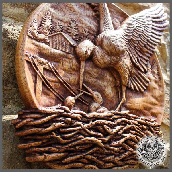 stork wooden carving wall art