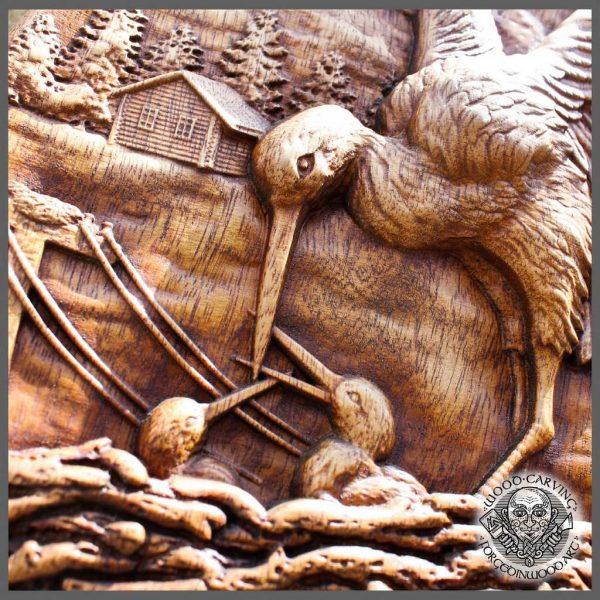Wooden Carving Stork gift