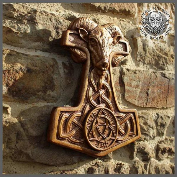 Carved Wood Thor Wall Hanging.