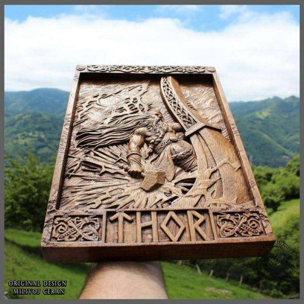 Thor Norse Wood Carving
