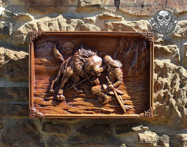 Fenrir Wooden Viking Artwork