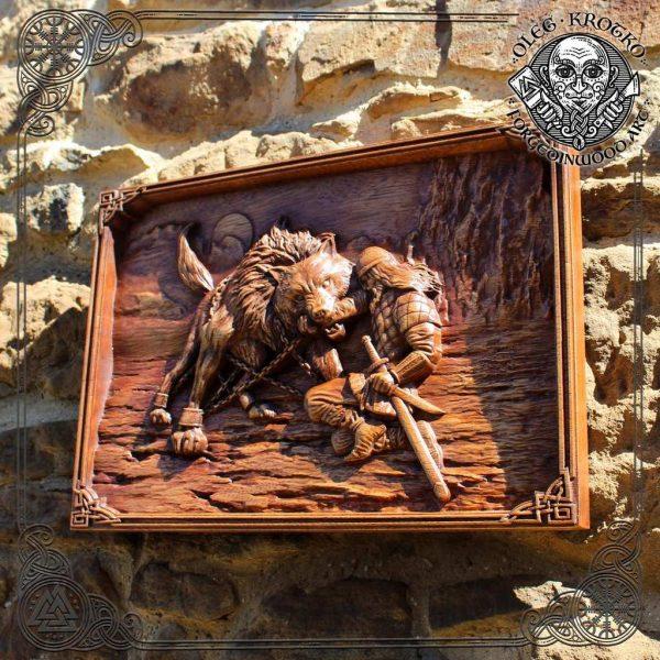 Tyr and Fenrir Viking Wood Art