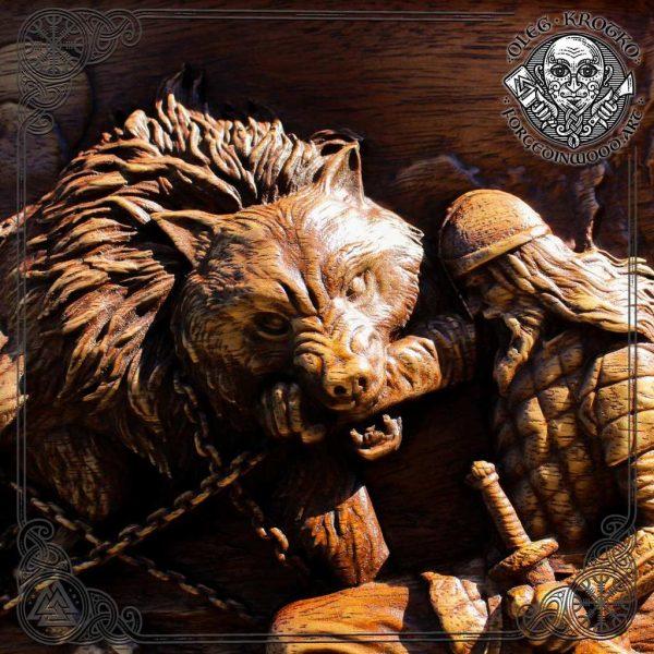 Fenrir Luxury carved Norse mythology