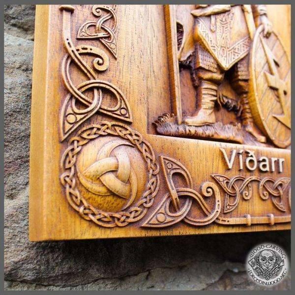 VIDAR GOD PAGAN OLD NORSE wood carving