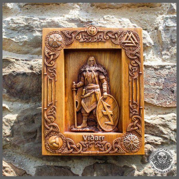 Vidar god norse carving