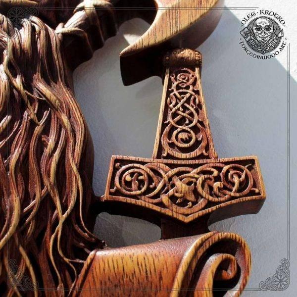 Vikings Vahalla wood carving