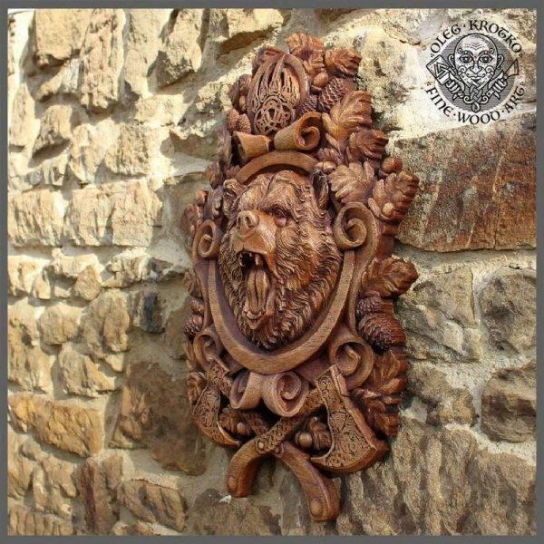 Viking Berserker, Bear Spirit wood carving