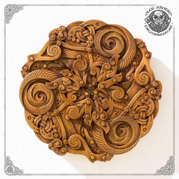 Wooden goat Trisquel viking carving