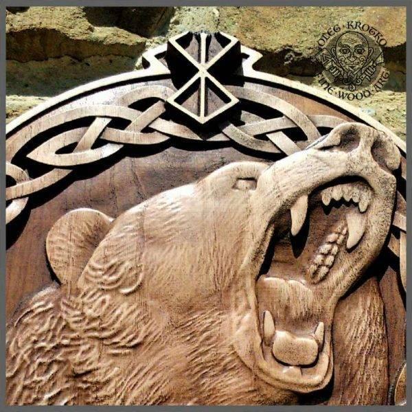 Viking Valhalla Berserk Bear wood carving