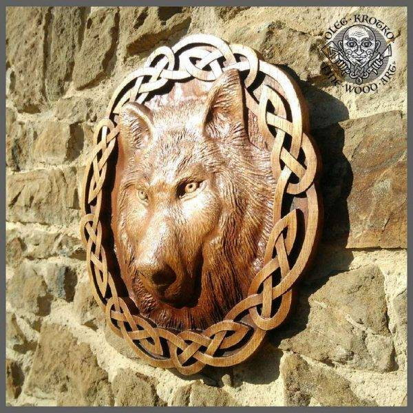 Viking wolf of odin wood carving