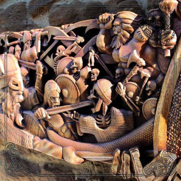 Viking Wood Carving Frame