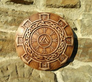 Carved Wood Valknut runes Wall Hanging