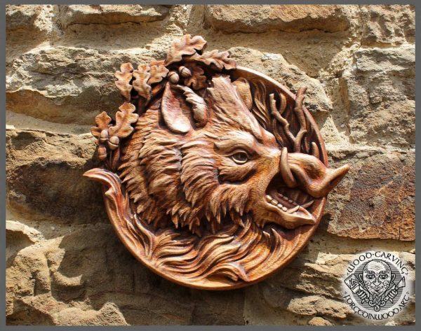wild boar carvings