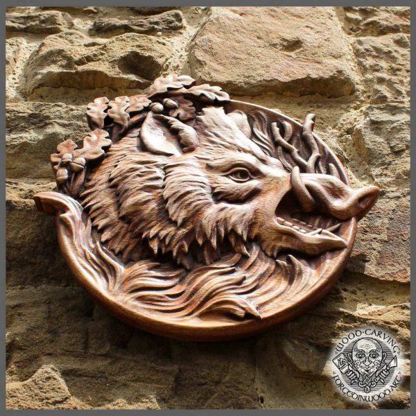 Wild boar wood carvings