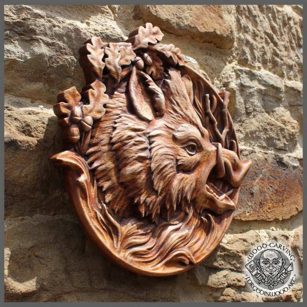 Wild boar carvings wall hanging