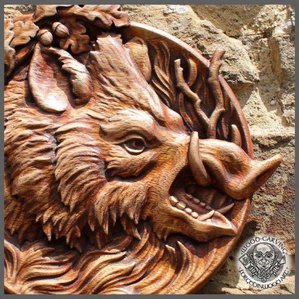 Wild boar wood carvings wall art