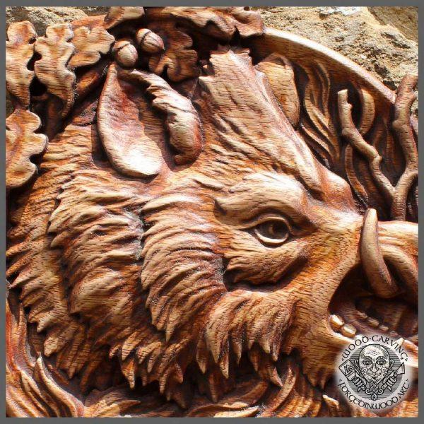 Wild Boar carving cabin decor