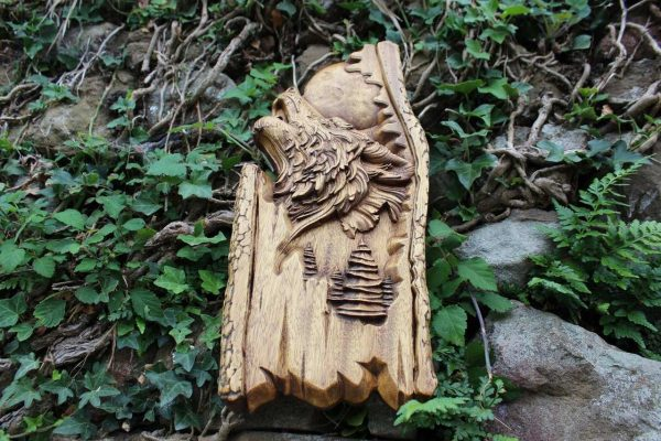 wood wolf carving Home Wall Hanging Viking