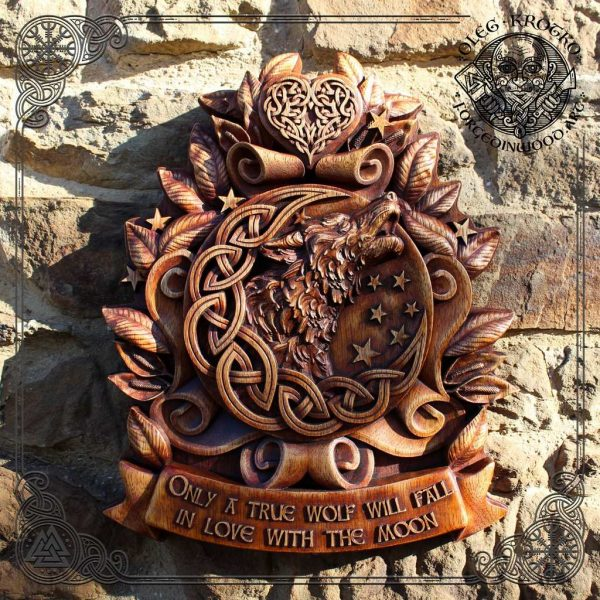 Celtic wolf carving