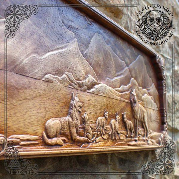 Handmade viking wood art