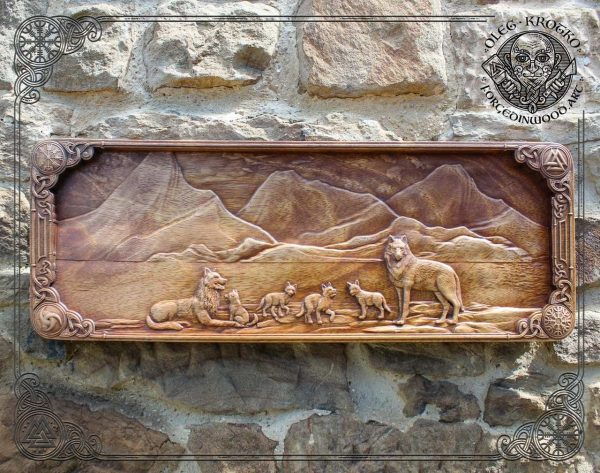 Carved wood wolf viking Wall Hanging