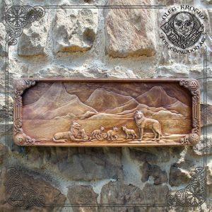 wolf family walknut wooden plaque