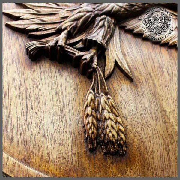 Wood carved family coat of arms