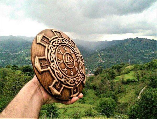 Celtic Norse Rune wood carving