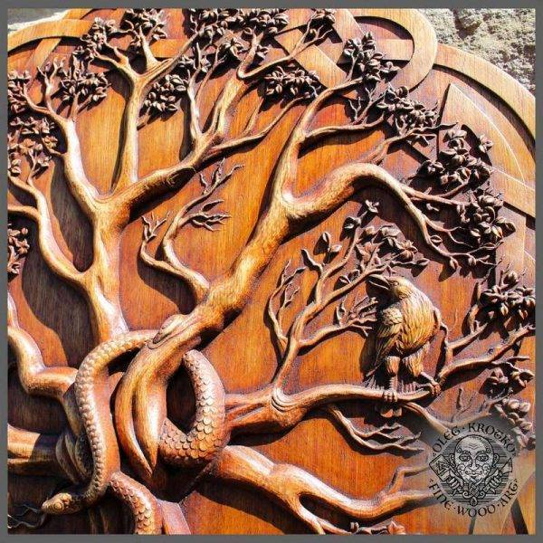 Celtic Wood Carving Tree of life Yggdrasil