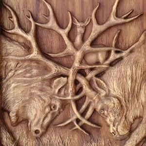 Deer Fight Animal Carving Wild Life