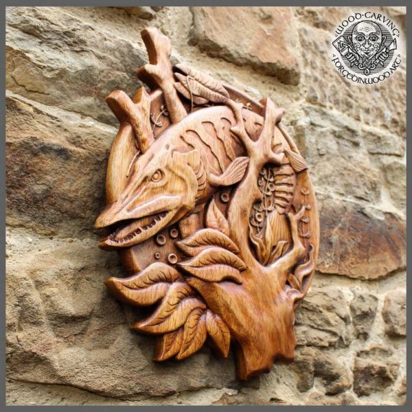 wood carved fish wall art