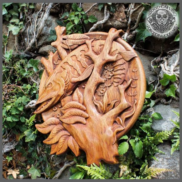 Wood fish carving decor for sale