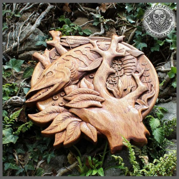fish wood carving art for sale
