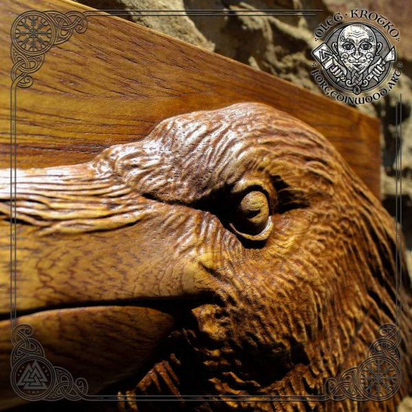 raven artwork wooden