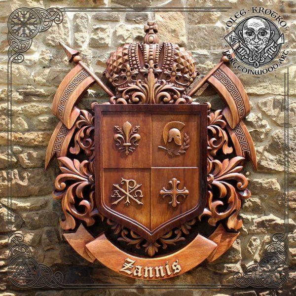 wood sculptor family heraldic symbols