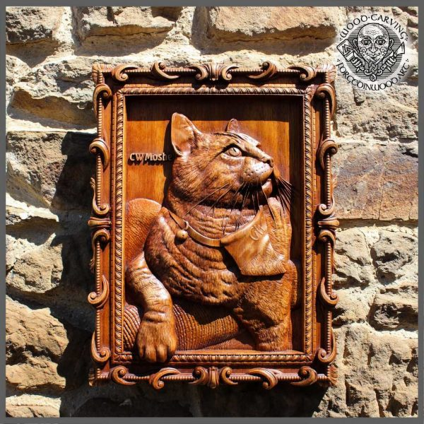 woodcarver cat portrait from photo