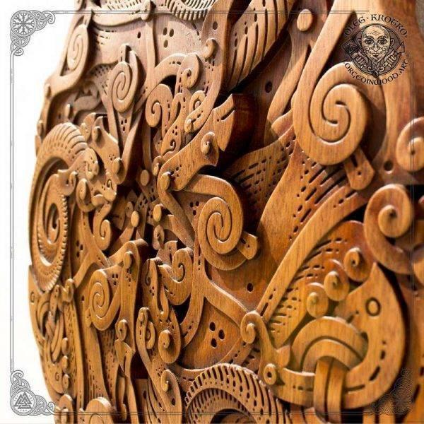 Wooden goat Trisquel carving