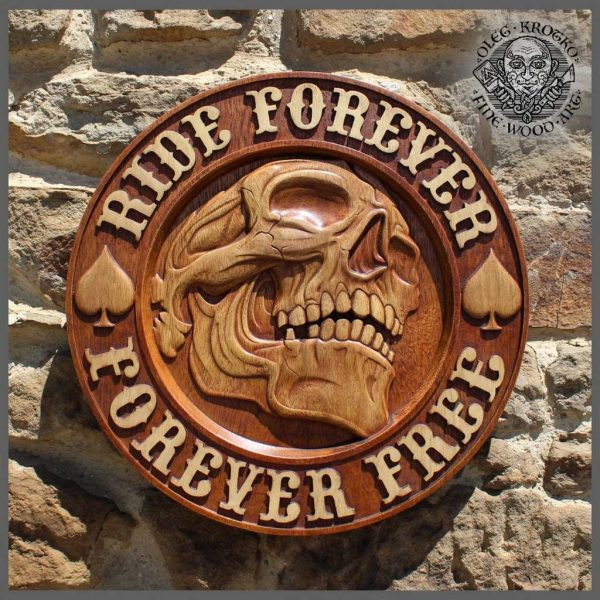 wooden plaque motorcycle skull for sale